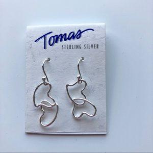 Tomas Real Sterling Silver Dangling Heart Earrings